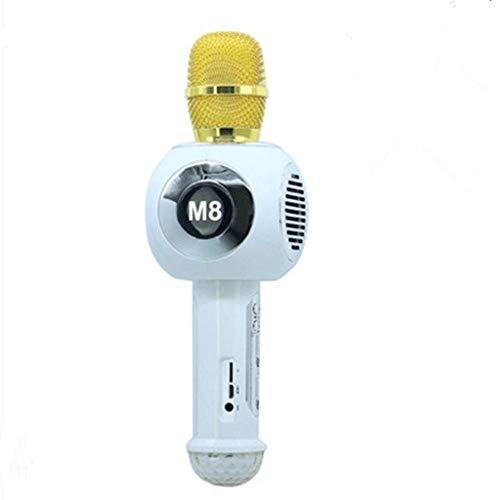 VBlfv USB-Schnittstelle drahtloses tragbares Bluetooth-Handmikrofon, buntes Neon-Karaoke-Livemikrofon mit hoher Qualität (Farbe : Weiß)