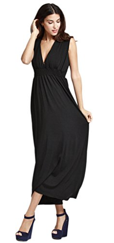 Smile YKK Femme Fashion Robe Longue Peplum Moulante V Col Uni Casual Noir