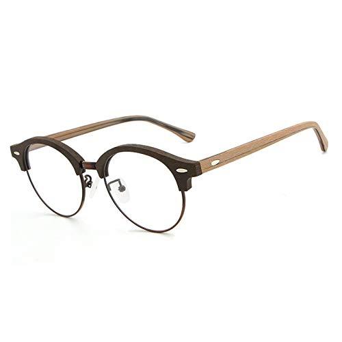DING-GLASSES Gläser Holz New European und American Style Sheet Brillen Retro literarischen Holzmaserung Brillengestell (Color : Coffee Box Brown Legs)