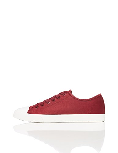 FIND Men's Lace up Baseball Low-Top Sneakers, Red (Maroon), 9 UK
