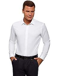 oodji Ultra Hombre Camisa Entallada con Cierre Oculto