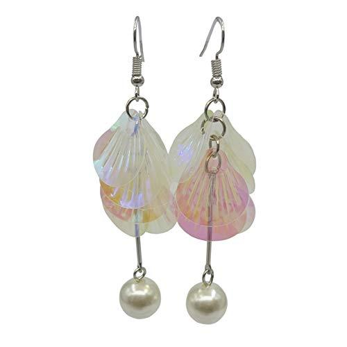 Nowbetter Perlen-Ohrringe Muschelform Quaste Pailletten Anhänger lange Ohrringe -