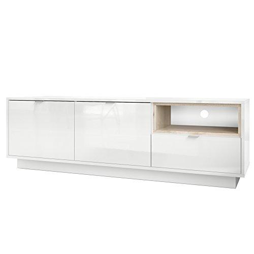 TV Board Lowboard Metro, Korpus in Weiß Hochglanz / Fronten in Weiß Hochglanz mit Einsatz in Eiche Nordic