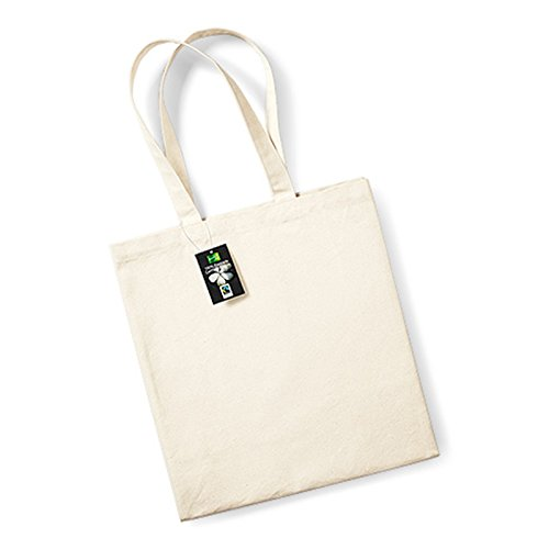 Westford Mill Fairtrade Cotton Classic shopper lunghezza manico: 58 cm, Cotone, Natural, taglia unica