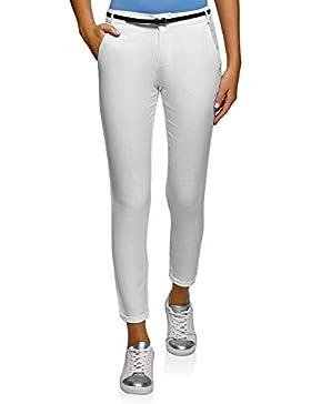 oodji Ultra Mujer Pantalones Ajustados con Cinturón