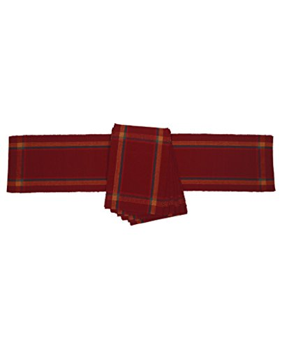 Dhrohar Cotton Maroon Ribbed Table Runner and Place Mats - Set of...