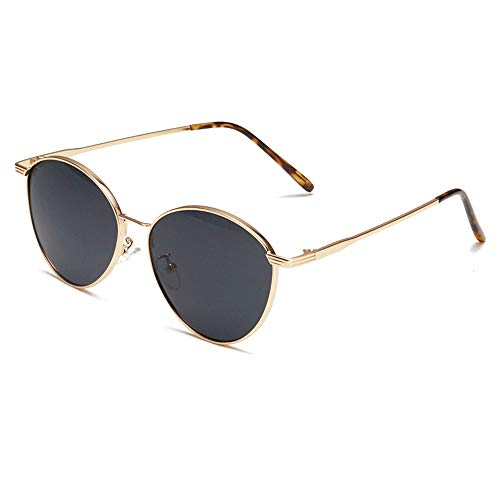 SUGLSO Sonnenbrille UV-Schutz Sonnenbrille Unisex polarisierte Sonnenbrille Frauen Männer Retro Marke Sonnenbrillen für Männer und Frauen (Farbe : Black1, Größe : Casual Size)