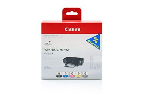 Canon Pixma Pro 9500 Mark II - Original Canon 1034B011 / PGI-9 / Tinte Multipack (BK,C,M,Y,GY) 5 Stück - 5 x 14 ml (9500 Pixma Canon Tinte Pro)