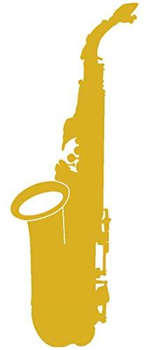 Samunshi® Saxophon Aufkleber Sticker in 8 Größen und 25 Farben (3,7x10cm goldmetalleffekt)