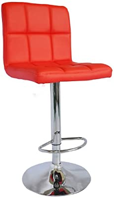 Red Faux Leather Kitchen Breakfast Bar Stool - SW31 + Free Delivery produced by BTM - quick delivery from UK.