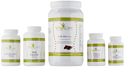 VitaCare 21-Tage-Stoffwechselkur + Daily One Proteinshake Schokolade - HCG-Diät Komplettpaket mit Anleitung - Protein-Pulver, MSM Kapseln, Multivitamin Complex, Omega 3 plus & OPC Traubenkern