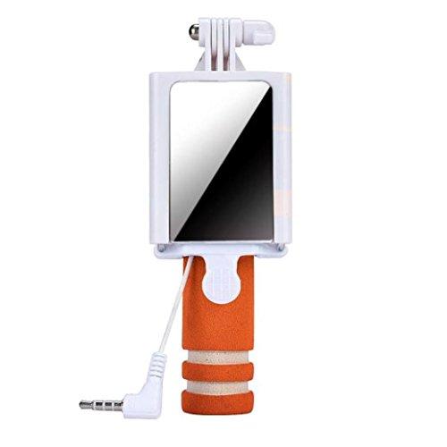 Tefamore Palo Selfie Mini cámara Handheld del monopio del palillo de Selfie para el borde de la galaxia S7 de Samsung (Naranja)