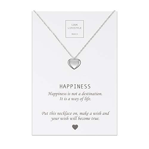 LUUK LIFESTYLE Edelstahl Halskette mit Herz Anhänger und Happiness Spruchkarte, Glücksbringer, Damen Schmuck, silber