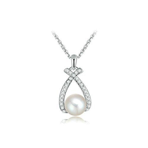 Epinki Versilbert Damen Anhänger Halskette Kreuz Perle Cubic Zirkonia Weiß Gold 1.5x2.3 CM