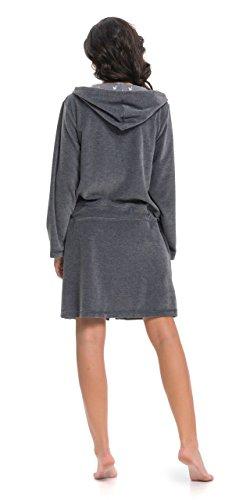dn-nightwear Damen Bademantel   Morgenmantel   Saunamantel mit Kapuze mit  hohem Baumwollanteil Dark Grey ... c6d9898a4f