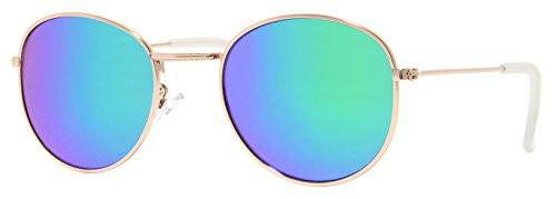 Cheapass Sonnenbrille Rund Verspiegelt Silber Grün Retro Damen Herren