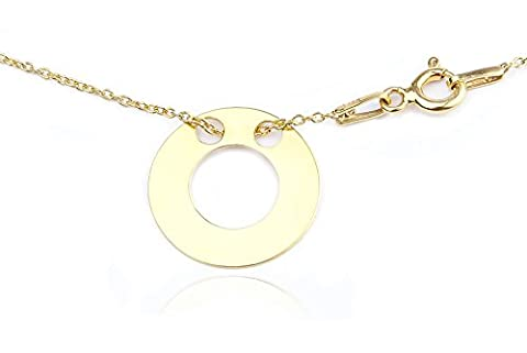 Celebrity Layered Style Necklace Open Double Circle 24K Gold over Sterling Silver. 1.5cm Pendant / 45cm Chain. Stamped 925. 10 Year Guarantee.