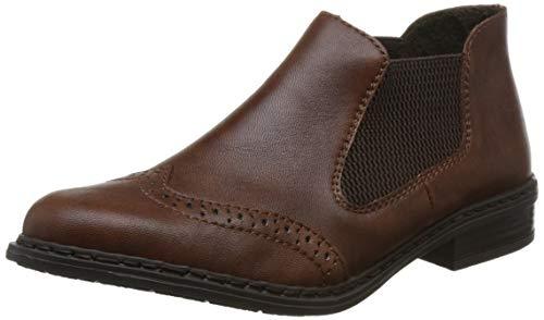 Rieker Damen Chelsea Boots 52093,Frauen Stiefel,Halbstiefel,Stiefelette,Bootie,Schlupfstiefel,flach,Blockabsatz 3cm,Chestnut/Brown / 22, EU 36