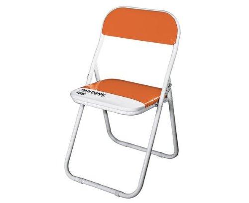 PANTONE - sedia pieghevole in metallo e PVC colore Vitamin C - 44 h 47/79 cm