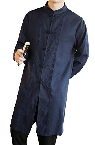 Navy Blue Trench Coat (CuteRose Men's Tai Chi Cotton Linen Maxi and Midi Trench Coat Jacket Navy Blue S)