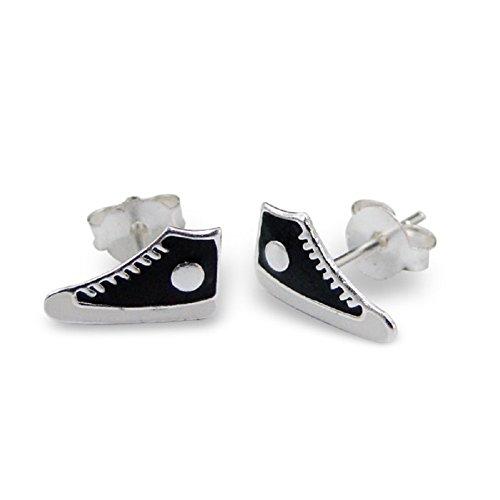 Laimons - Orecchini bambina - scarpe da ginnastica - bianco/nero - argento Sterling 925