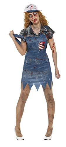 Kostüm Hinterwäldler - Smiffys Damen Zombie Hinterwäldler Kostüm, Latzhosen Kleid mit angebrachten Latex Rippen, Oberteil und Baseball Kappe, Größe: 32-34, 46853
