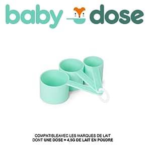 BABYDOSE - Kit de 3 cuillères doseuses pour faire vos biberons rapidement. Fabriqué en France, produit design et innovant. COMPATIBLE AVEC LES MARQUES DE LAIT DONT UNE DOSE = 4,5g DE LAIT EN POUDRE