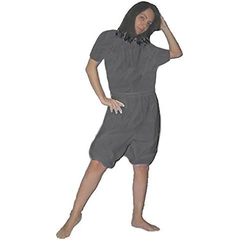 COMBI SAUNA -Gris Plata, Talla 3 (España 46-48)- Chándal Traje Efecto Sauna de PVC para Sudación, Favorece la Sudoración, Blusa y Pantalón-Bermudas -