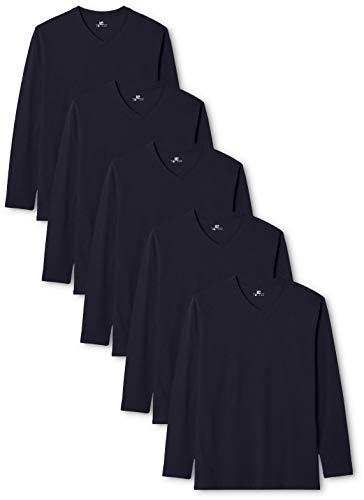 V-neck-mode-top (Lower East Herren Langarmshirt mit V-Ausschnitt, 5er Pack, Gr. Medium, Blau (Dunkelblau))