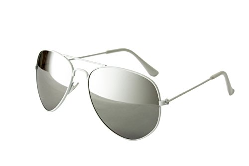 Top Sonnenbrille (EL-Sunprotect® Pilotenbrille Fliegerbrille Sonnenbrille Brille Top Design Weiß Silber Verspiegelt)