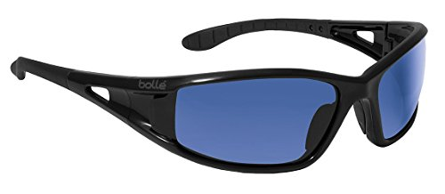 Bolle Safety Low-rider Safety Glasses, Shiny Black Frame, Grey with Blue Mirror Flash Lenses Blue Flash Lens