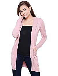 MansiCollections Pink Hooded Cardigan for Women