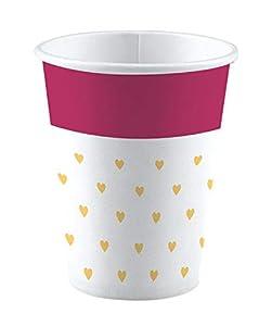 amscan 9903250 Everyday Love - Juego de 8 Vasos de Papel (250 ml), Color Blanco, Rosa y Dorado