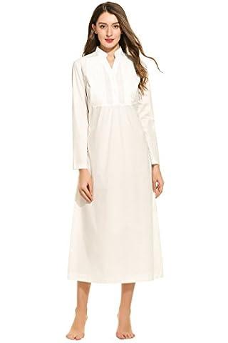 Ekouaer Womens Cotton Victorian Nightgown Langarm Vintage Nachtwäsche (Weiß,