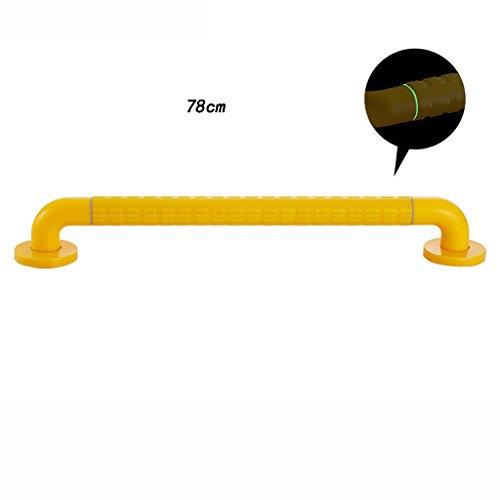 Zxwzzz Geländer Antirutschbraune Duscharmlehne aus Edelstahl, Dusch-WC, barrierefreier Seniorenhandgriff, Warnlicht für Nachtsicht (Size : 78cm)