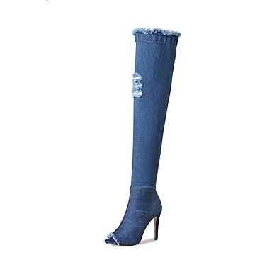 RTRY Scarpe donna tessuto Primavera Estate Cowboy / Western Stivali Stivali Stiletto Heel Peep toe sopra il ginocchio stivali con per partito informale & alla luce della sera Us5.5 blu / Eu36 / Uk US7.5 / EU38 / UK5.5 / CN38