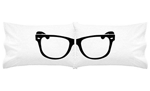 Oh, SUSANNAH Hipster Brille Kissenbezüge Set Cool nerdigen Kissenbezüge (Zwei 50,8x 101,6cm King Größe Kissen Fall)