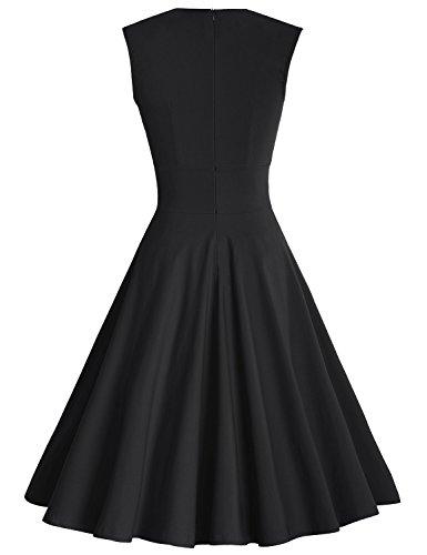 MUXXN Damen Retro 1950er V-Ausschnitt Brautjungfer Party Swing Kleid Black