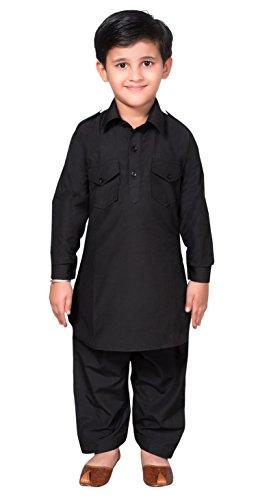 Desi Sarees Jungen Pathani Kurta Shalwar Kameez Sherwani 936 Gr. 12 Jahre, Schwarz
