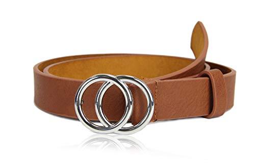 irisaa Schmaler Damen Gürtel mit runder Metallschnalle zwei Ringen, 2,8 cm breit und 0,4 cm stark, Länge:80, Farbe:Braun mit Silberring