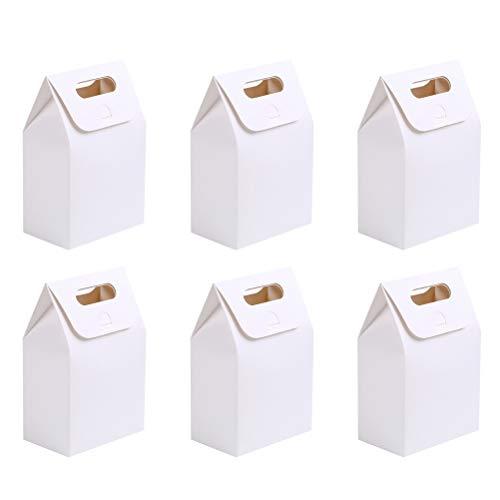 LIOOBO 20 stücke Tragbare papier geschenk taschen falten süßigkeiten behandeln aufbewahrungsbox cookies keks dessert container halter für zuhause shop (weiß)