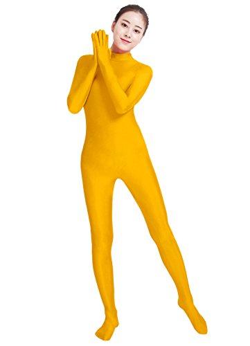 lucky baby store Mädchen damen einteilige volle Hände volle Füße Lycra Spandex Haut feste elastische Ganzanzug Bodysuit (M, gelb)