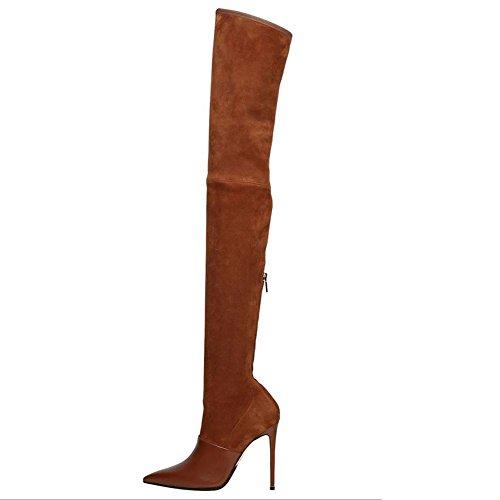L@YC Scarpe da donna Suede Comfort Novità Stivali Stivali a punta Stivali al ginocchio Abiti da ufficio e da lavoro/Marrone/Nero Brown