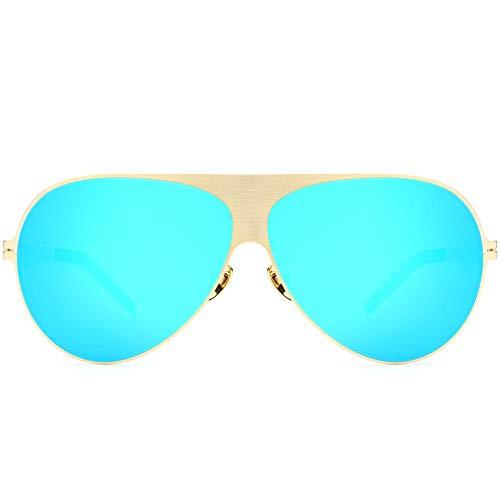 Yiph-Sunglass Sonnenbrillen Mode Sonnenbrillen Herren Damen 80er Jahre Retro Style Shades UV400 Objektiv Unisex (Farbe : Gold Frame Blue Piece, Größe : Free)