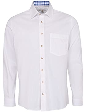 Almsach Trachtenhemd Heiko Regular Fit mehrfarbig in Weiß, Hellblau und Blau inklusive Volksfestfinder