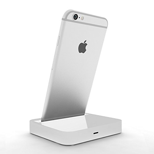 Coverlounge - Lightning Dockingstation/Dock/Ladestation [2.1 A] kompatibel mit Apple iPhone XS/X/XR/8/8-Plus/7/7-Plus/6s/6s-Plus/6/5/SE mit Lightning Anschluss | Farbe: weiß 2.1 Ipod-docking-station