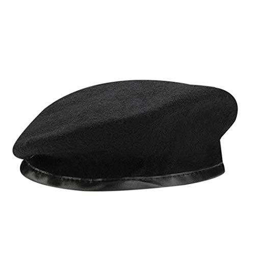 Anywow British Military Baskenmütze mit Lederschweißband, Adjustbale Army Schwarz Wolle Baskenmütze Kappe -
