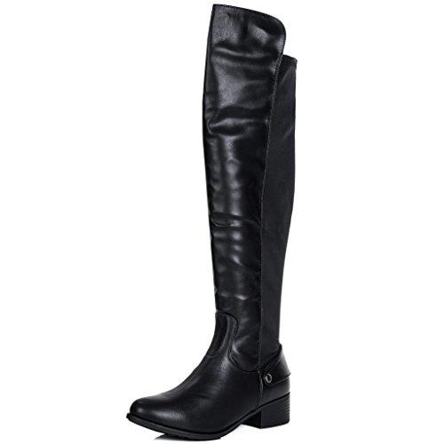 d50df221afec SPYLOVEBUY Women s CORINNE Wide Fit Block Heel Knee High Tall Boots