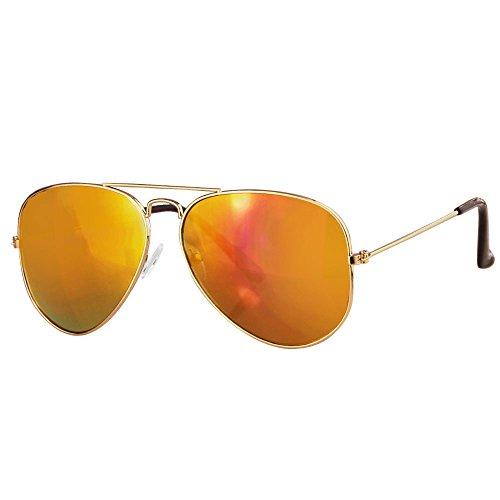 Caripe Pilotenbrille Verspiegelt Getönt Fliegerbrille Retro 70er 80er Sonnenbrille Damen Herren Metall (gold - sun verspiegelt - 3026)
