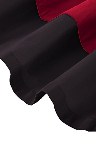 Robe Femme Chinoise Vintage Col Montant Manche Longue Impression Jointif Pin up Swing Plissée Grande Taille en Coton A-Ligne par MisShow Bordeaux